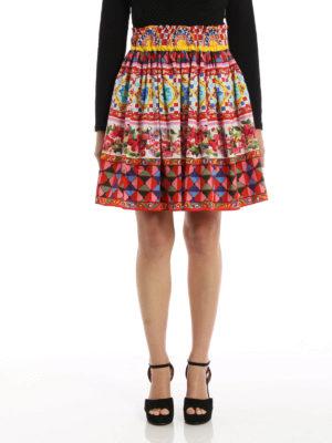 Dolce & Gabbana: mini skirts online - Mambo print cotton circle skirt