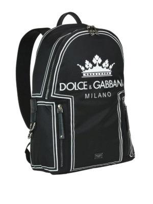 DOLCE & GABBANA: zaini online - Zaino Vulcano con stampa corona