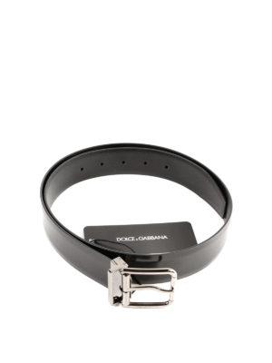 DOLCE & GABBANA: cinture online - Cintura classica in pelle spazzolata nera