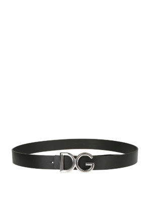 DOLCE & GABBANA: cinture online - Cintura in pelle fibbia D&G metallo argento