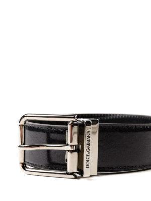 DOLCE & GABBANA: cinture online - Cintura lucida nera