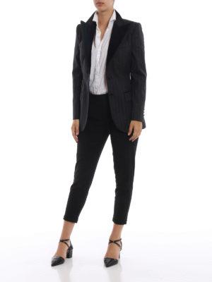 DOLCE & GABBANA: giacche blazer online - Blazer gessato con maxi revers di velluto
