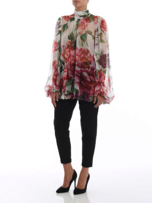 DOLCE & GABBANA: bluse online - Blusa in seta stampa Peonie con sciarpina