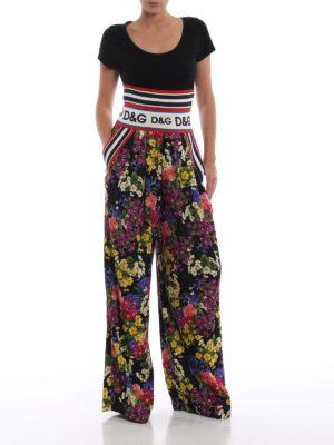 DOLCE & GABBANA: pantaloni casual online - Pantaloni a gamba larga in charmeuse floreale