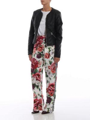 DOLCE & GABBANA: pantaloni casual online - Pantaloni in cady stampa Peonie