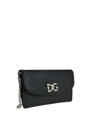 DOLCE & GABBANA: pochette online - Clutch nera con logo gioiello