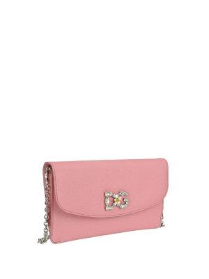 DOLCE & GABBANA: pochette online - Clutch rosa con logo gioiello