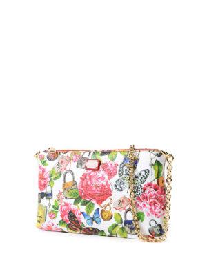 DOLCE & GABBANA: pochette online - Clutch in pelle con stampa floreale