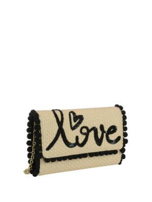 DOLCE & GABBANA: pochette online - Borsetta in rafia con ricamo love