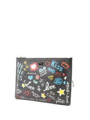 DOLCE & GABBANA: pochette online - Pochette murales nera con zip