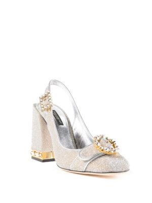 DOLCE & GABBANA: scarpe décolleté online - Slingback gioiello in soft lurex