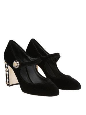 DOLCE & GABBANA: scarpe décolleté online - Décolleté Mary Jane gioiello in velluto