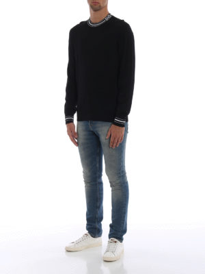 DOLCE & GABBANA: maglia collo rotondo online - Maglia girocollo in lana con banda King