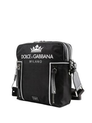 DOLCE & GABBANA: borse a tracolla online - Borsa a tracolla in nylon con stampa logo