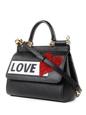 DOLCE & GABBANA: borse a tracolla online - Borsa Sicily Love piccola nera