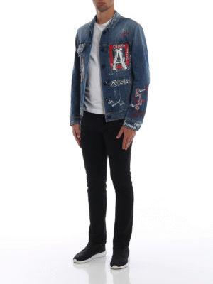 DOLCE & GABBANA: giacche denim online - Giacca in denim patch e stampe DG Love