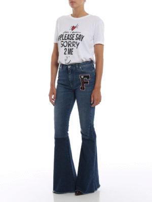 DOLCE & GABBANA: jeans a zampa online - Jeans a zampa patchwork con patch F
