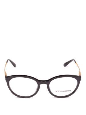 DOLCE & GABBANA: Occhiali online - Occhiali da vista neri con aste dorate