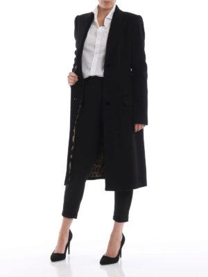 DOLCE & GABBANA: cappotti al ginocchio online - Cappotto nero in morbido panno di lana
