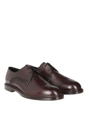 DOLCE & GABBANA: scarpe stringate online - Derby brogue in pelle spazzolata di vitello