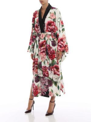 DOLCE & GABBANA: cappotti lunghi online - Cappotto kimono in seta stampa Peonie