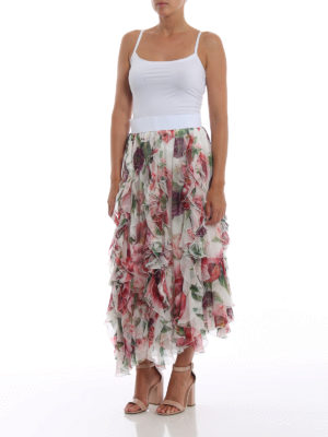 DOLCE & GABBANA: Gonne Lunghe online - Gonna lunga in seta stampa Peonie con volant