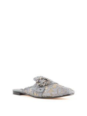 DOLCE & GABBANA: sabot online - Sabot gioiello di pizzo grigio