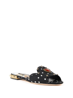 DOLCE & GABBANA: sandali online - Sandali in cady a pois con cuore