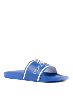 DOLCE & GABBANA: sandali online - Slides Saint Barth in pelle bluette