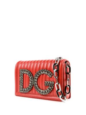 DOLCE & GABBANA: borse a spalla online - Borsa matelassé DG Girls con cristalli