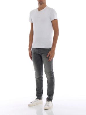 DOLCE & GABBANA: jeans skinny online - Jeans grigi in denim slavato stretch