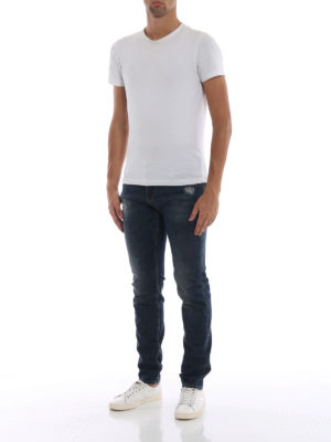 DOLCE & GABBANA: jeans skinny online - Jeans in denim stretch a lavaggio scuro