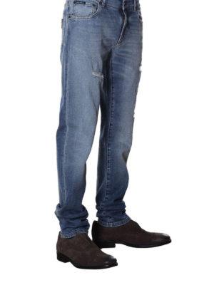 a sigaretta - Jeans in cotone consumato