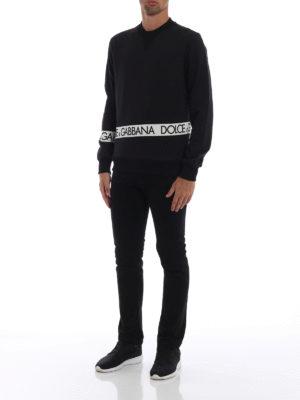 DOLCE & GABBANA: Felpe e maglie online - Felpa in cotone con bande logo lettering