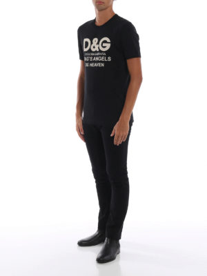 DOLCE & GABBANA: t-shirt online - T-shirt nera in cotone con stampa DG Heaven
