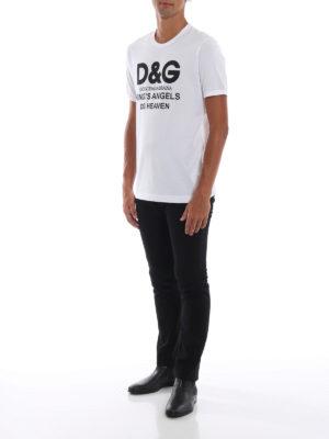 DOLCE & GABBANA: t-shirt online - T-shirt bianca in cotone con stampa DG Heaven