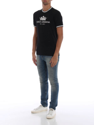 DOLCE & GABBANA: t-shirt online - T-shirt in cotone nero #DGMILLENNIALS
