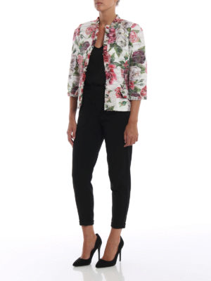 DOLCE & GABBANA: giacche sartoriali online - Giacca a balzine con stampa Peonie