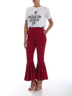 DOLCE & GABBANA: Pantaloni sartoriali online - Pantaloni in cady con balza sul fondo