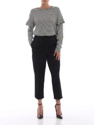 DOLCE & GABBANA: Pantaloni sartoriali online - Pantaloni in jacquard stretch effetto pizzo