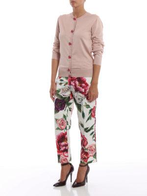DOLCE & GABBANA: Pantaloni sartoriali online - Pantaloni crop in broccato stampa Peonie