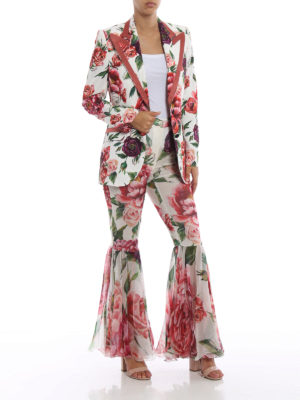 DOLCE & GABBANA: Pantaloni sartoriali online - Pantaloni in seta Peonie con fondo volant