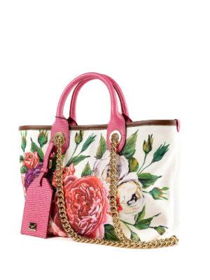 DOLCE & GABBANA: shopper online - Shopper Capri piccola in canvas stampa Peonie