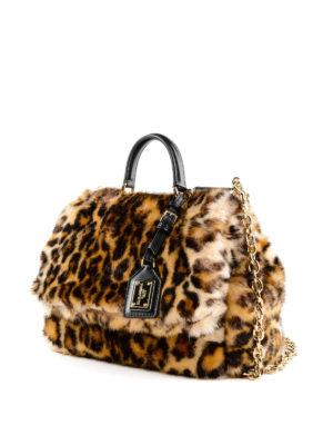 DOLCE & GABBANA: shopper online - Borsa Sicily Soft Leo in eco pelliccia