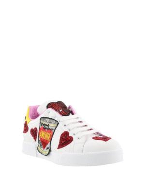 DOLCE & GABBANA: sneakers online - Sneaker in pelle con ricami