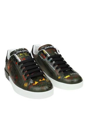 DOLCE & GABBANA: sneakers online - Sneaker Portofino verdi con stampa graffiti