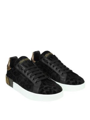 DOLCE & GABBANA: sneakers online - Sneaker Portofino in tessuto con lurex nero