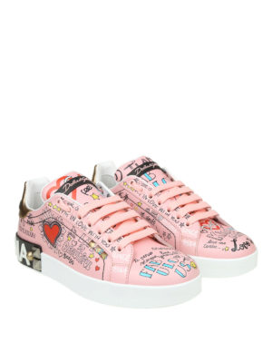 DOLCE & GABBANA: sneakers online - Sneaker Portofino rosa in vitello stampato