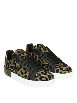 DOLCE & GABBANA: sneakers online - Sneaker Portofino in tessuto effetto lurex
