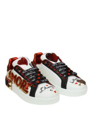 DOLCE & GABBANA: sneakers online - Sneaker Portofino in pelle con applicazioni